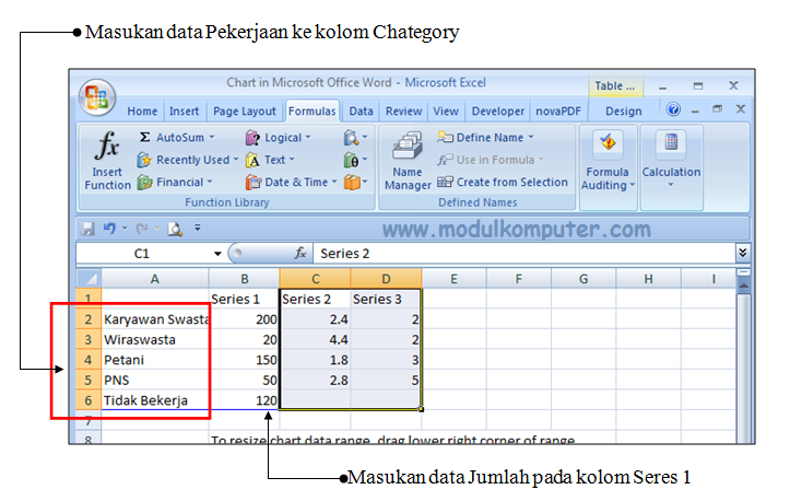 Cara Membuat Grafik Di Microsoft Word Microsoft Excel Dan Microsoft Powerpoint Dengan Mudah Modul Komputer