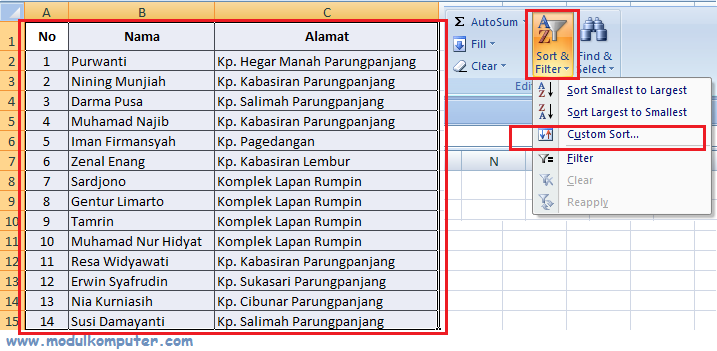 cara mengurutkan data di excel 2
