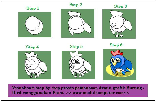 membuat disain grafik kBURUNG BIRD dengan paint untuk sd
