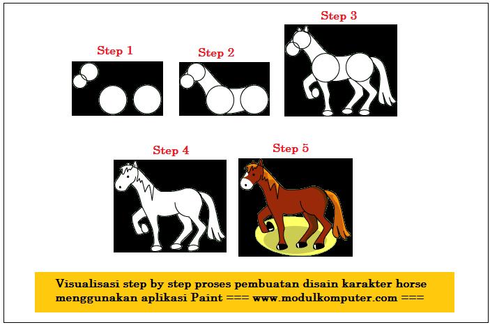 membuat karakter gambar kuda dengan paint