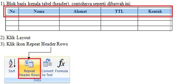 cara membuat kepala tabel di Microsoft Word berulang otomatis