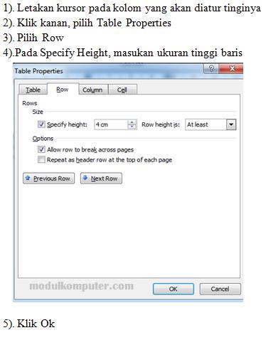 cara mengatur tinggi baris tabel di microsoft word