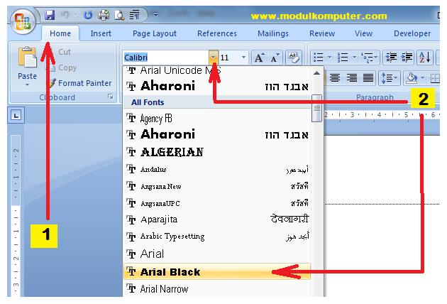 cara merubah jenis huruf di microsoft word