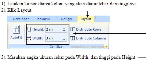 cara mudah mengatur lebar dan tinggi tabel di microsoft word 2007 2010 2013 2016