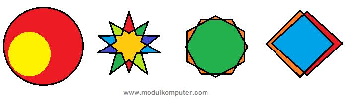 contoh hasil mewarnai objek dengan paint