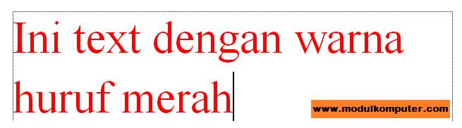 contoh teks setelah dirubah warnanya menggunakan menu font color