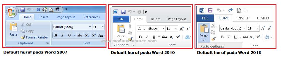 default huruf pada microsoft word