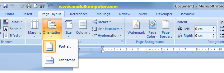 Fungsi Menu Page Layout Microsoft Word 2007 2010 2013