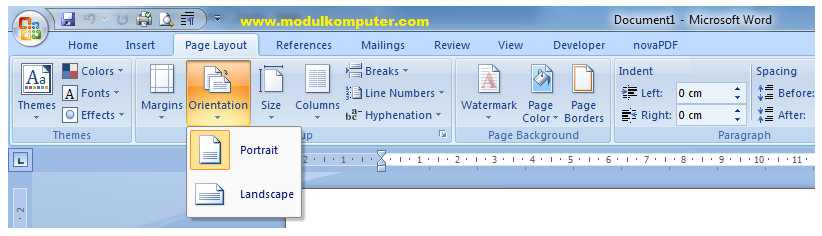 fungsi menu orientation microsoft word