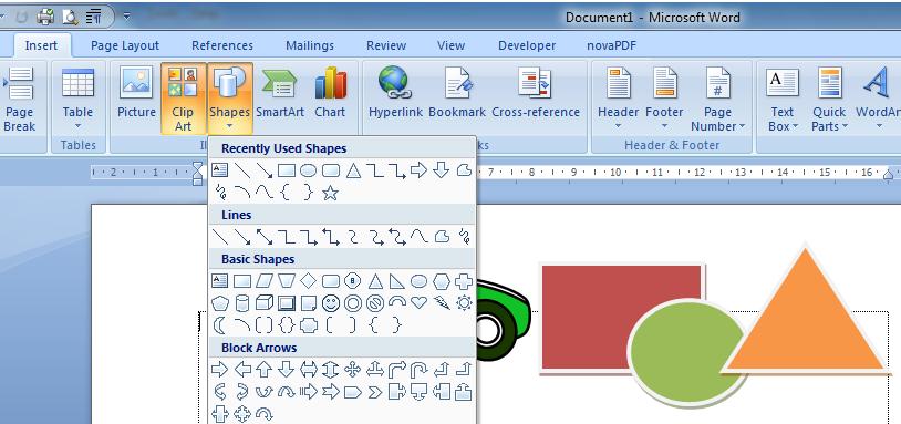 materi microsoft word untuk anak anak insert clipt art image shapes