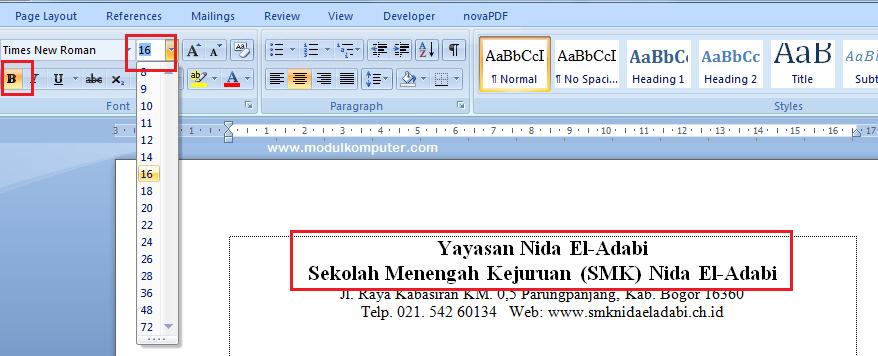 membuat kop surat resmi di microsoft word