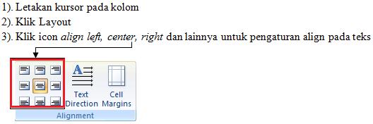 mengatur align text pada tabel microsoft word