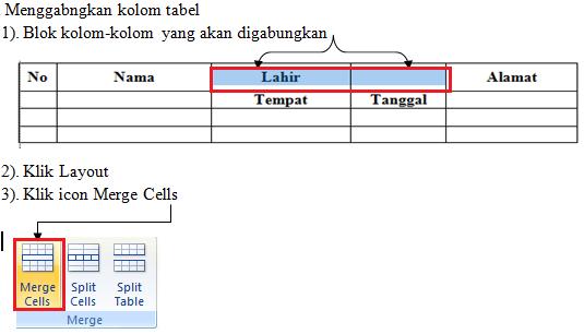 menggabungkan kolom dan baris tabel