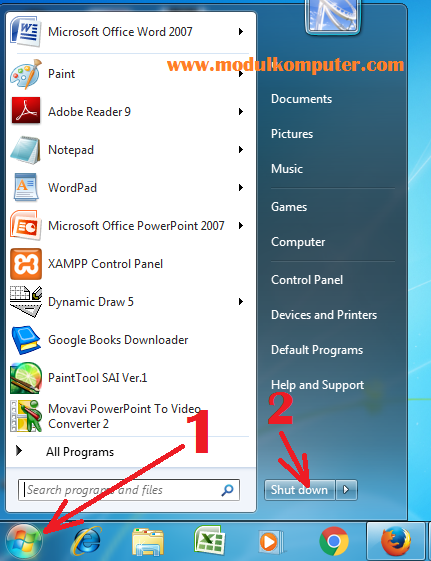 cara mematikan komputer yang benar