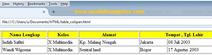 Contoh Kode HTML Untuk Membuat Tabel dan Layout Web
