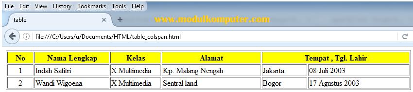 cara menggabungkan kolom tabel html