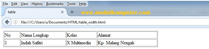 contoh table html dengan atribut width