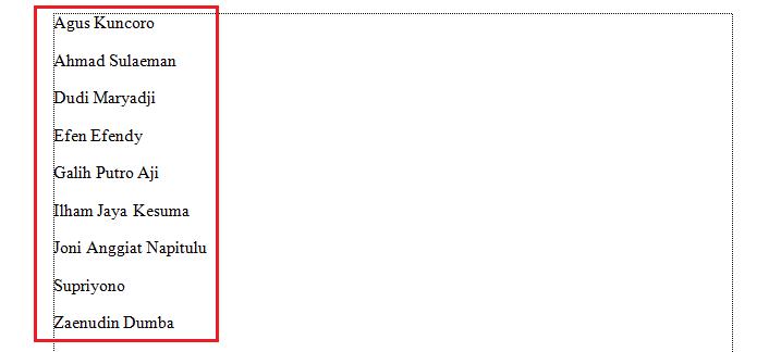 hasil mengurutkan data di microsoft word ascending dari a ke z