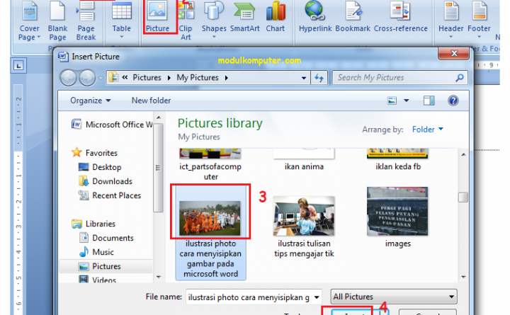 Belajar Menyisipkan Gambar di Microsoft Word