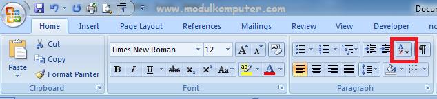 menu untuk mengurutkan data di microsoft word ascending dari a ke z