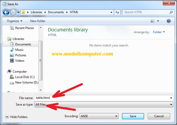 menyimpan file html di notepad