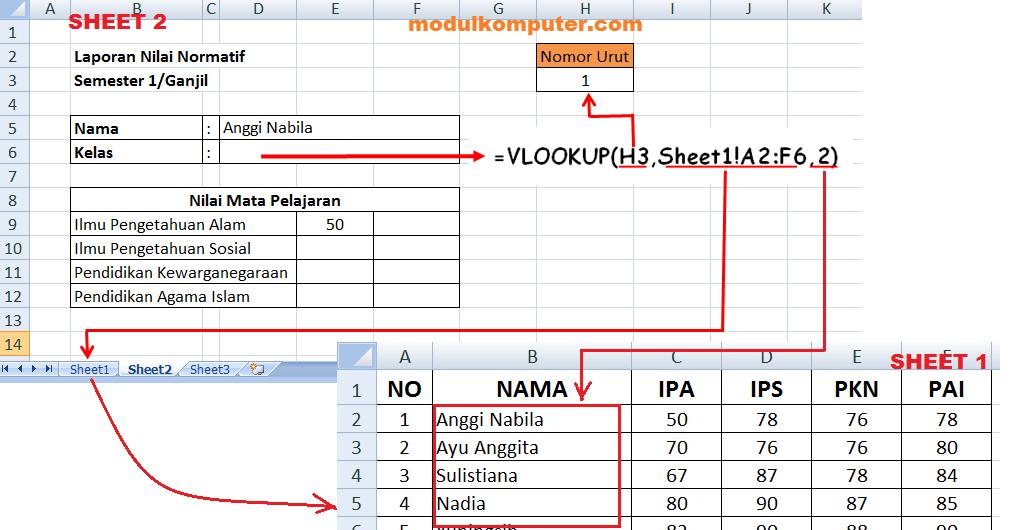ilustrasi penggunaan rumus formula excel untuk mengimport data dari sheet lain