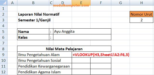 rumus formula vlookup untuk menampilkan data antar sheet