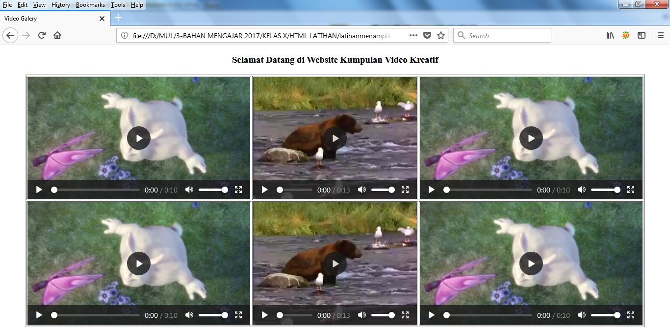 CONTOH LAYOUT WEB VIDEO GALERY DENGAN HTML