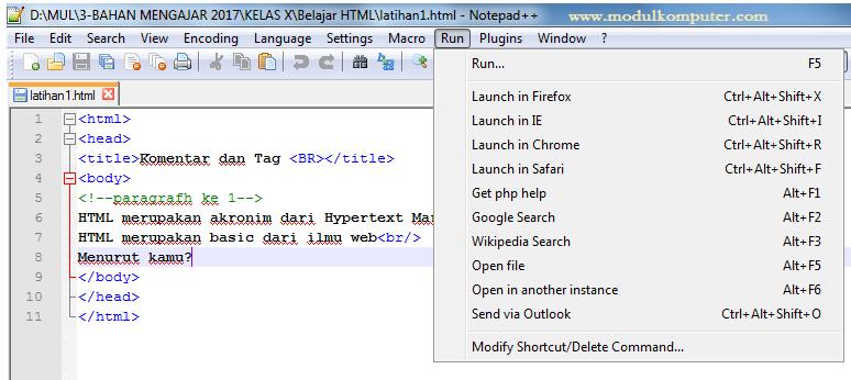 aplikasi pendukung belajar pemrograman web dasar - notepad ++