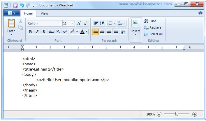 aplikasi pendukung belajar pemrograman web dasar - wordpad