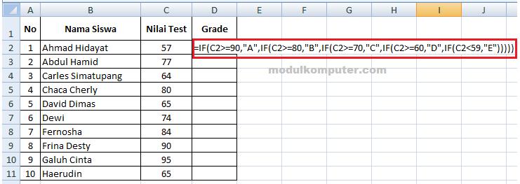 cara membuat grade di microsoft excel dengan rumus if