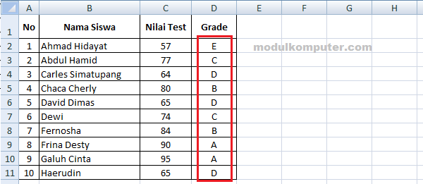 contoh cara membuat grade di microsoft excel
