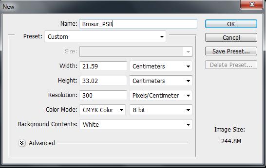 panduan cara mengatur jenis kertas di photosop untuk brosur