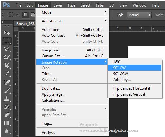Step 2 memutar posisi kertas dari vertikal ke horizontal di photosop