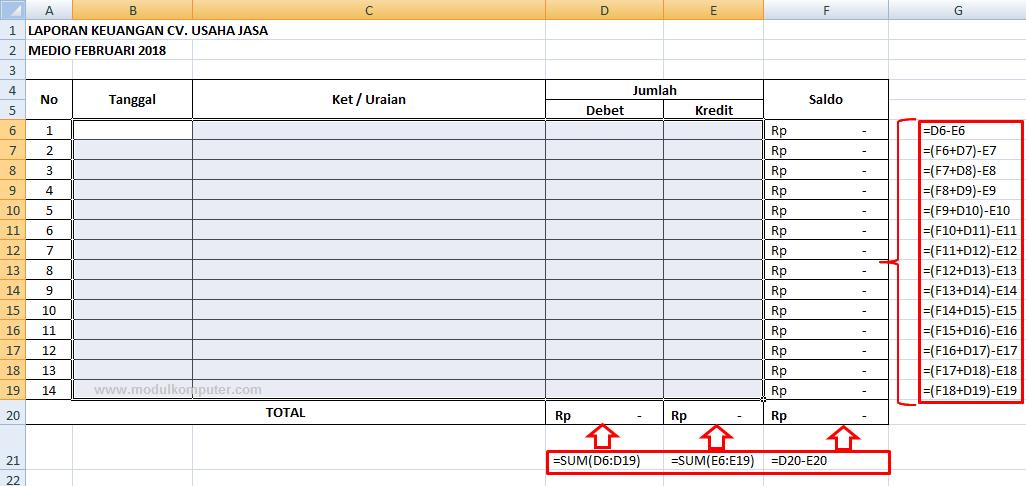 cara membuat laporan keuangan dengan excel