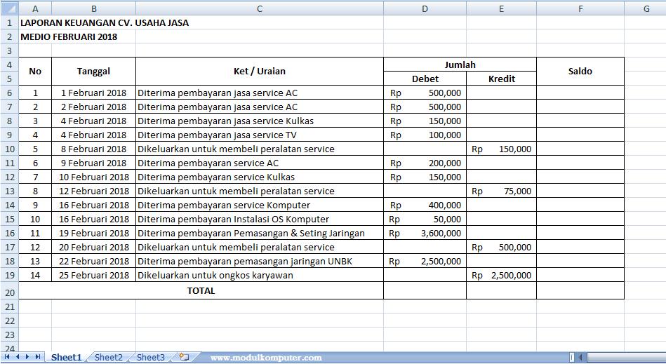 cara membuat pembukuan sederhana menggunakan Excel