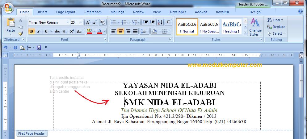 Cara Membuat Berbagai Kop Surat Resmi Di Microsoft Word