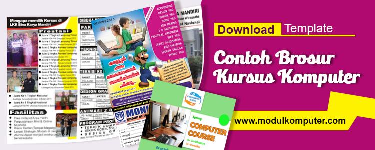 Download Template Brosur Kursus Komputer Modul Komputer