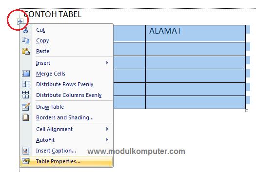cara teks menggantung pada tabel word