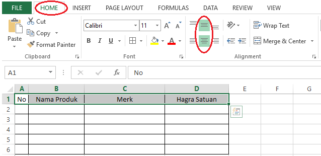 cara mengatur teks agar berada di tengah tabel excel